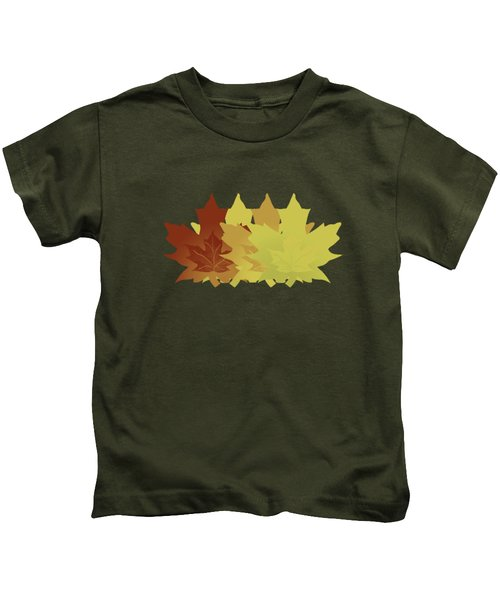 Diagonal Leaf Pattern Kids T-Shirt by Methune Hively