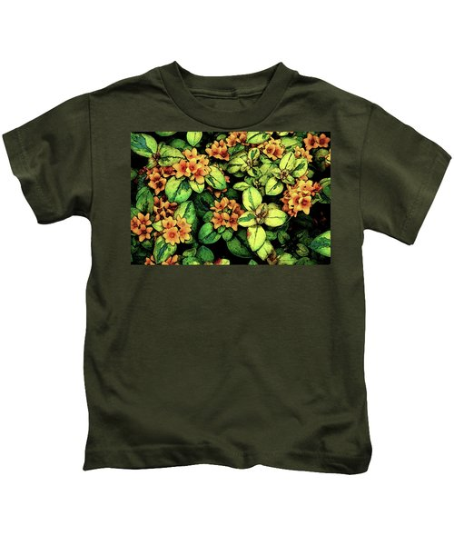 Digital Painting Quilted Garden Flowers 2563 Dp_2 Kids T-Shirt