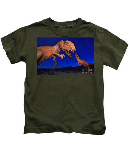 Kids T-Shirt featuring the photograph Dinosaur Battle In Jurassic Park by Sam Antonio Photography