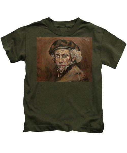 Disguised As Rembrandt Van Rijn Kids T-Shirt by Nop Briex