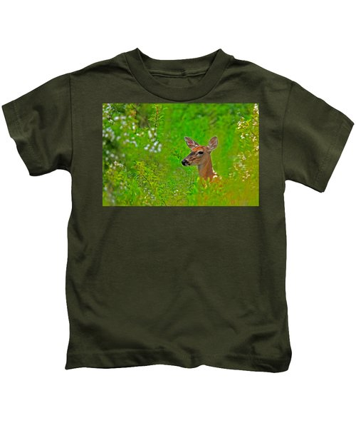 Kids T-Shirt featuring the photograph Doe In Springtime by William Jobes