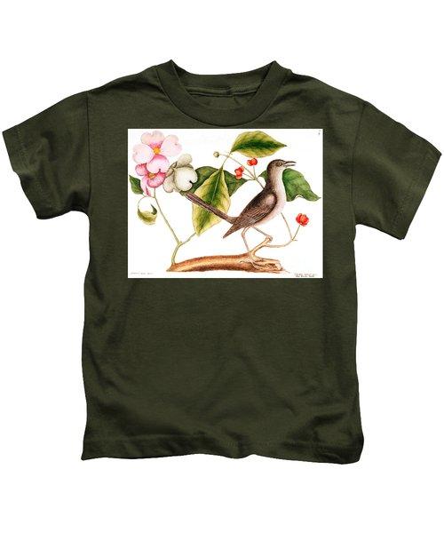 Dogwood  Cornus Florida, And Mocking Bird  Kids T-Shirt by Mark Catesby