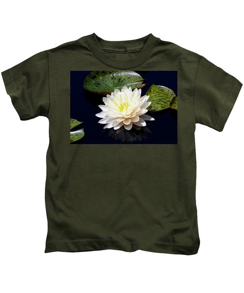 Dotty White Lotus And Lily Pads 0030 Dlw_h_2 Kids T-Shirt
