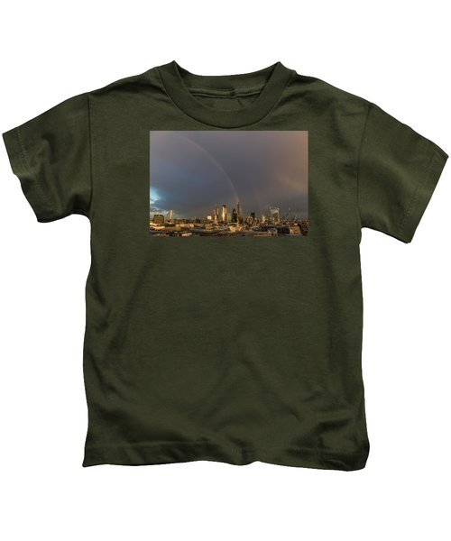 Double Rainbow Over The City Of London Kids T-Shirt