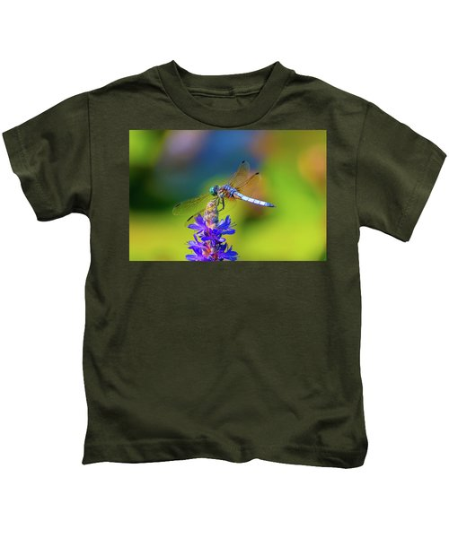 Dragonfly And Purple Flower Kids T-Shirt