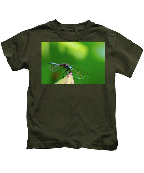 Dragonfly On Lotus Bud Kids T-Shirt
