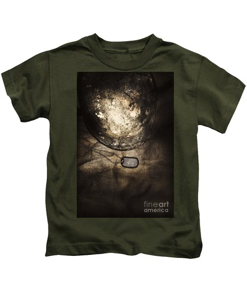 Dramatic Dog Tags And Military Helmet Still Life Kids T-Shirt