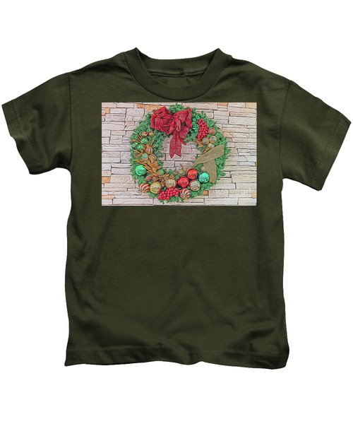 Dreamy Holiday Wreath Kids T-Shirt