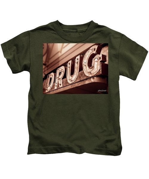 Drug Store Sign - Vintage Downtown Pharmacy Kids T-Shirt