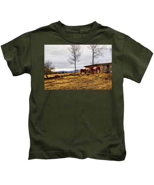 Dusk Feeding On The Farm Kids T-Shirt