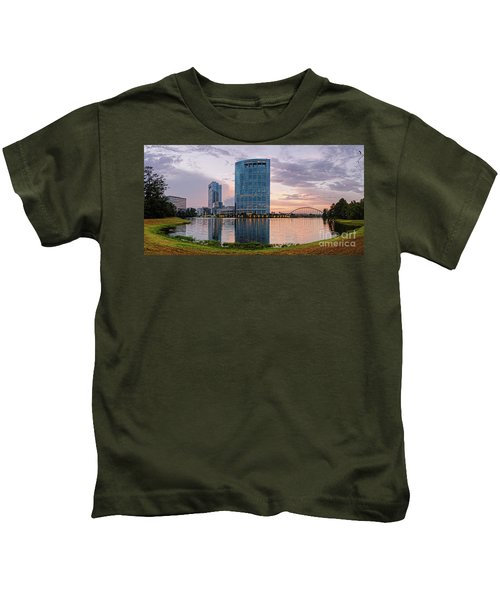 Dusk Panorama Of The Woodlands Waterway And Anadarko Petroleum Towers - The Woodlands Texas Kids T-Shirt