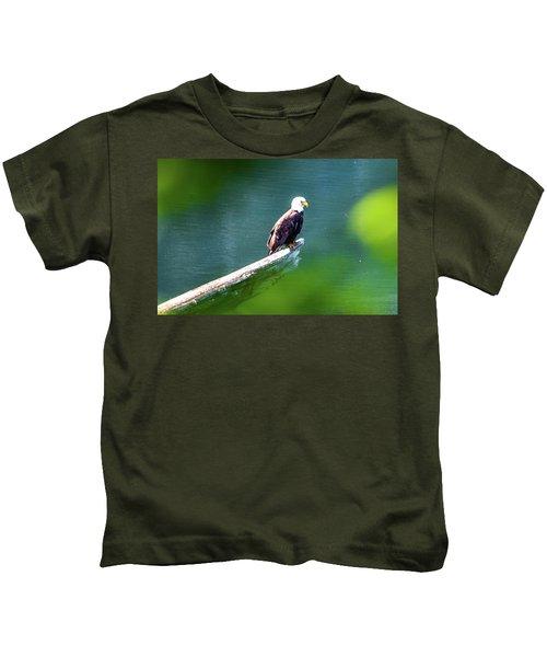 Eagle In Lake Kids T-Shirt