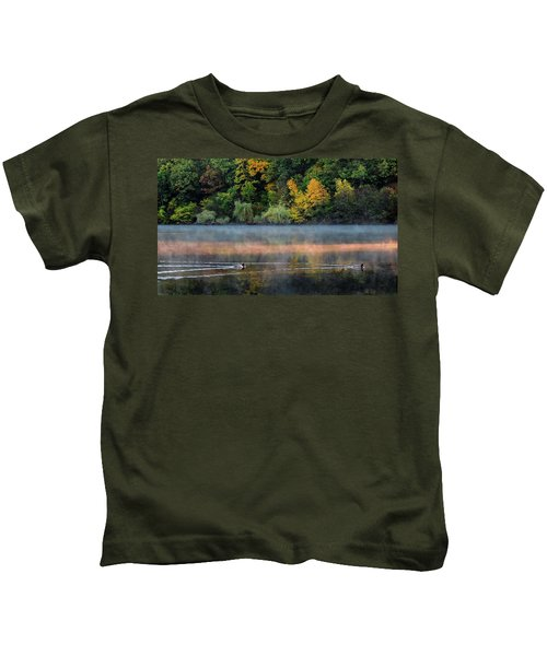 Early Autumn Morning At Longfellow Pond Kids T-Shirt