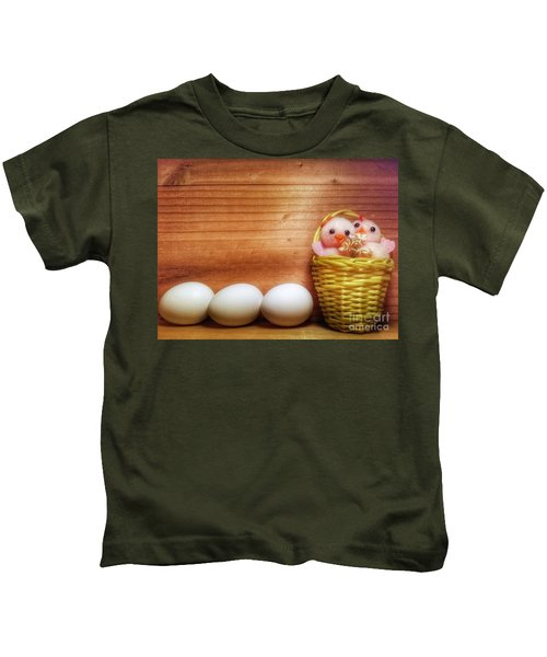 Easter Basket Of Pink Chicks With Eggs Kids T-Shirt