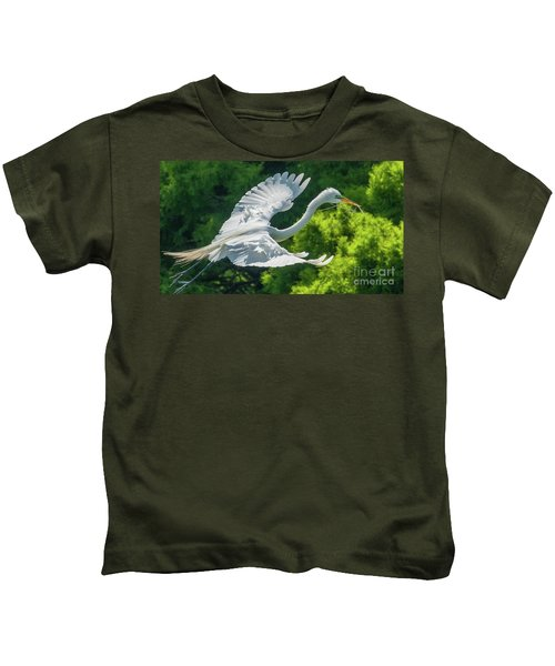 Egret Flying With Twigs Kids T-Shirt