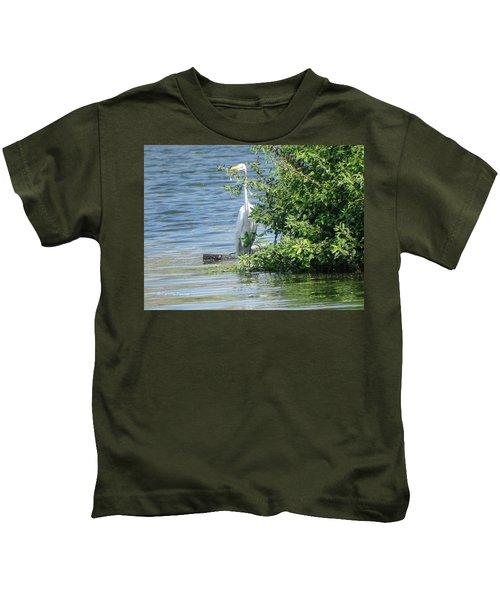 Great Egret In The Marsh Kids T-Shirt