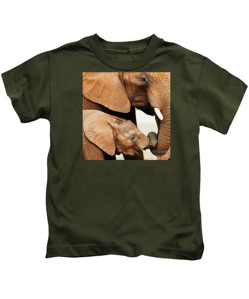 Elephant Calf And Mother Close Together Kids T-Shirt
