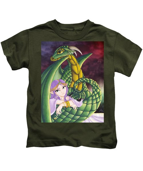 Elf Girl And Dragon Kids T-Shirt