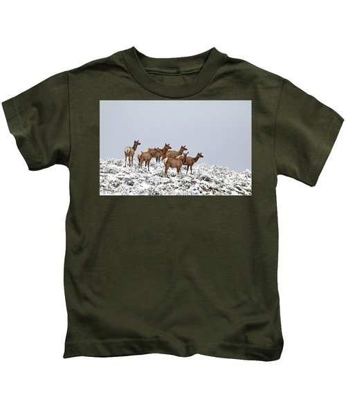 Elk Cows On The Alert In The Tetons Kids T-Shirt