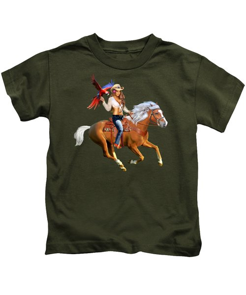 Enchanted Jungle Rider Kids T-Shirt by Glenn Holbrook