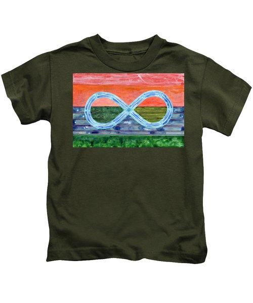 Eternity Symbol Over Flat Landscape  Kids T-Shirt