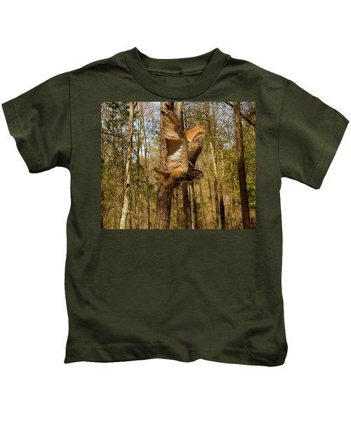 Eurasian Eagle Owl In Flight Kids T-Shirt