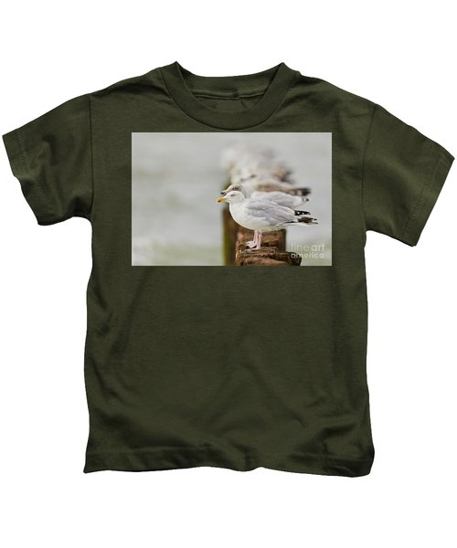 European Herring Gulls In A Row Fading In The Background Kids T-Shirt