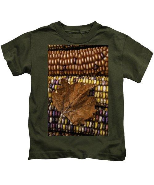 Fall Leaf And Indian Corn Kids T-Shirt
