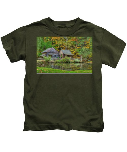 Kids T-Shirt featuring the photograph Farm In Woods by William Jobes