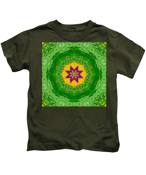 Feathers In The Sunshine Mandala Kids T-Shirt