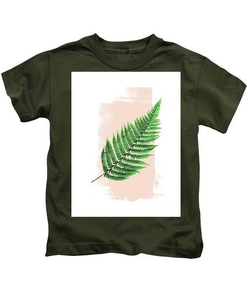 Fern Leaf On Pink Kids T-Shirt