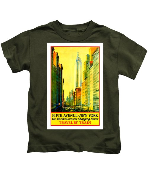Fifth Avenue New York Travel By Train 1932 Frederick Mizen Kids T-Shirt
