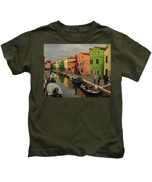 Fisherman At Work In Colorful Burano Kids T-Shirt
