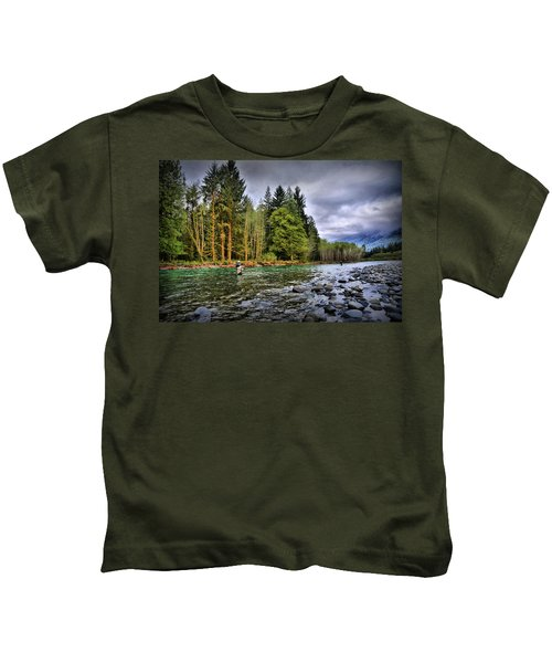 Fishing The Run Kids T-Shirt