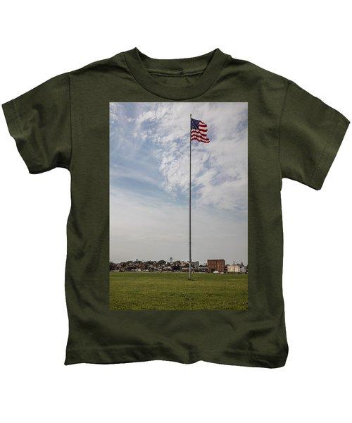 Flag Poll At Detroit Tiger Stadium  Kids T-Shirt