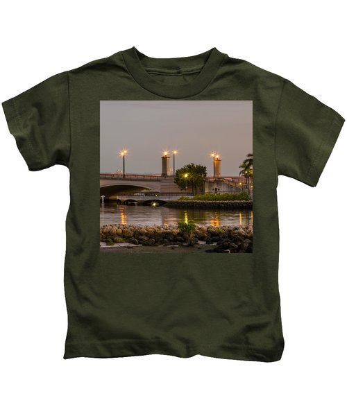 Flagler Bridge In Lights V Kids T-Shirt