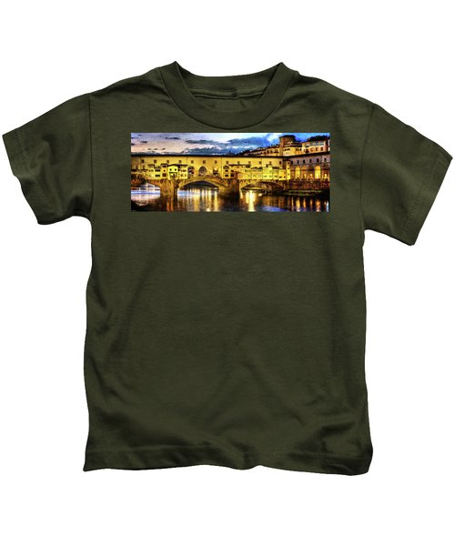 Florence - Ponte Vecchio Sunset From The Oltrarno - Vintage Version Kids T-Shirt