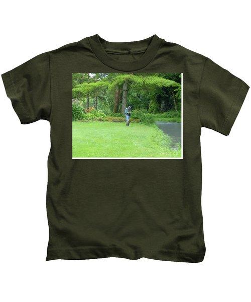 Fly Fishing On Trout Run Creek Kids T-Shirt