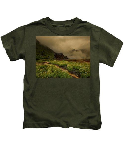 Fog Rolls Over The Frisco Mill With Summer Wildflowers Kids T-Shirt