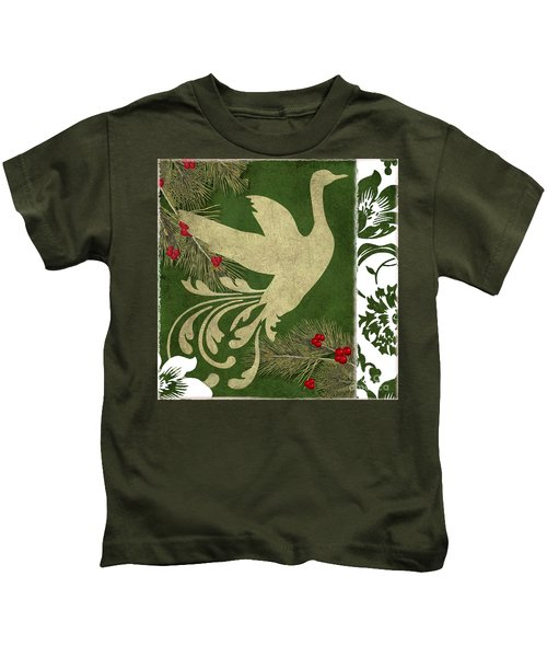 Forest Holiday Christmas Goose Kids T-Shirt
