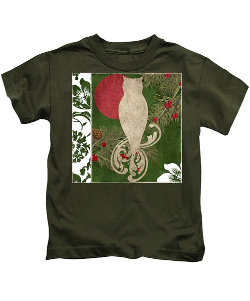 Forest Holiday Christmas Owl Kids T-Shirt