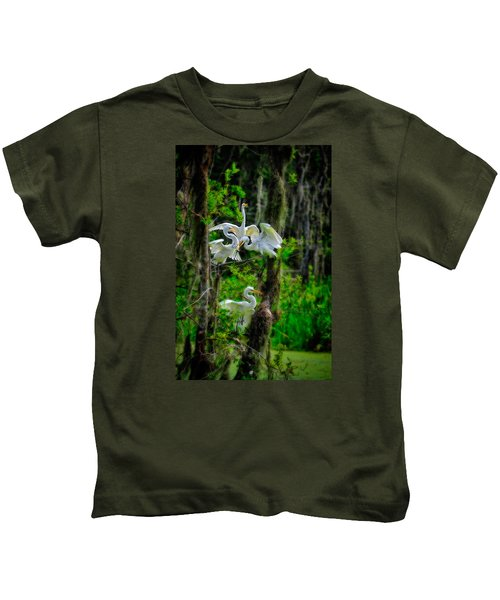 Four Egrets In Tree Kids T-Shirt