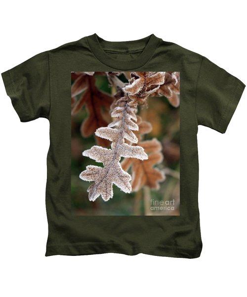Frost Covered Oak Leaf Kids T-Shirt