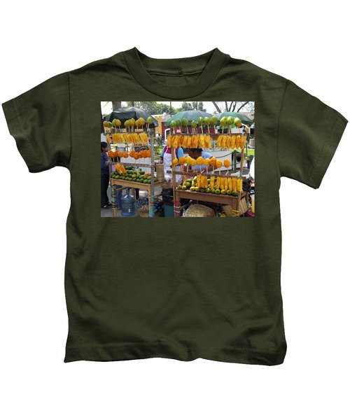 Fruit Stand Antigua  Guatemala Kids T-Shirt by Kurt Van Wagner
