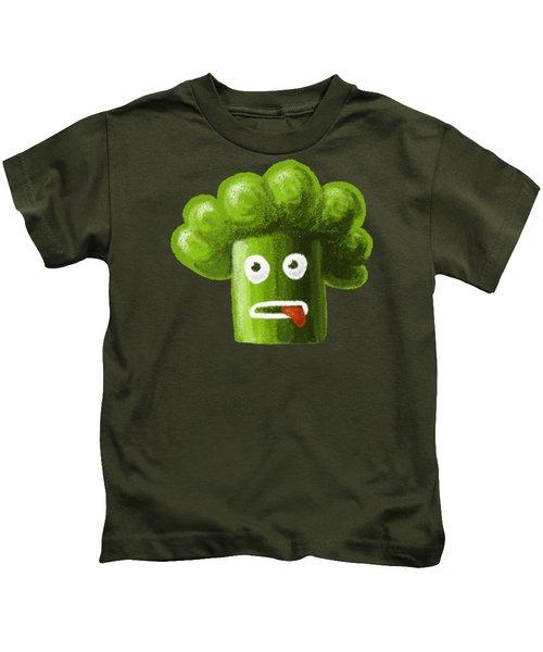 Funny Broccoli Kids T-Shirt by Boriana Giormova