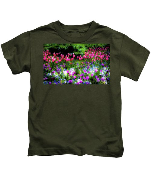 Garden Flowers With Tulips Kids T-Shirt