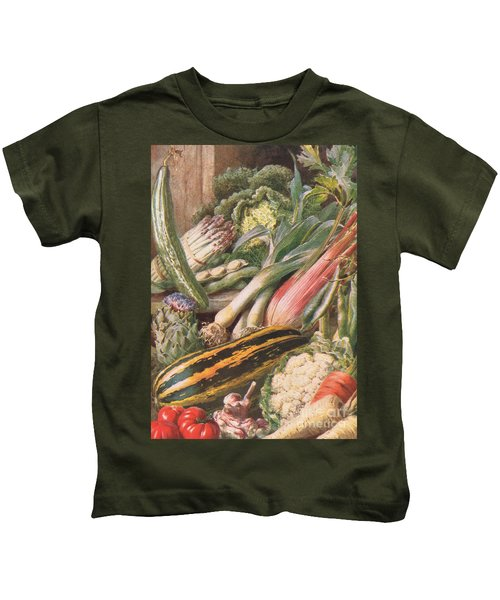 Garden Vegetables Kids T-Shirt by Louis Fairfax Muckley