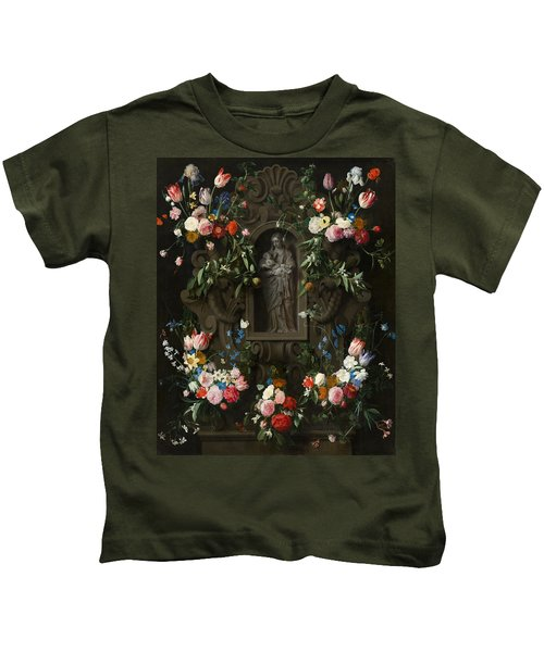 Garland Of Flowers Surrounding A Sculpture Of The Virgin Mary Kids T-Shirt