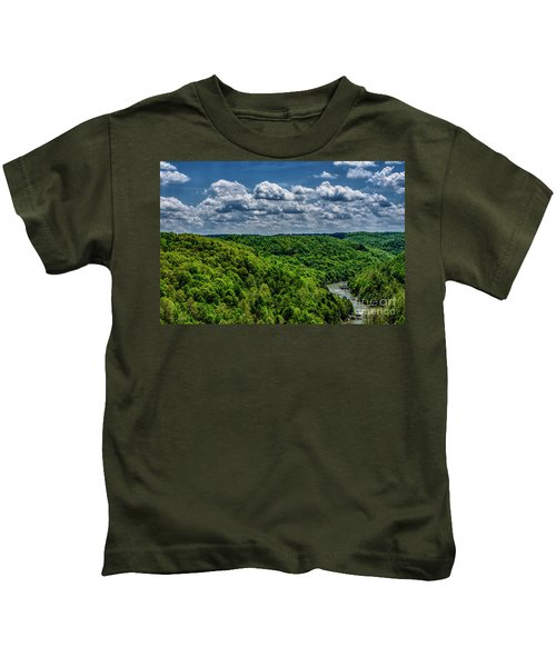 Gauley River Canyon And Clouds Kids T-Shirt