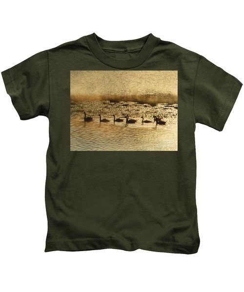 Geese On Golden Pond Kids T-Shirt